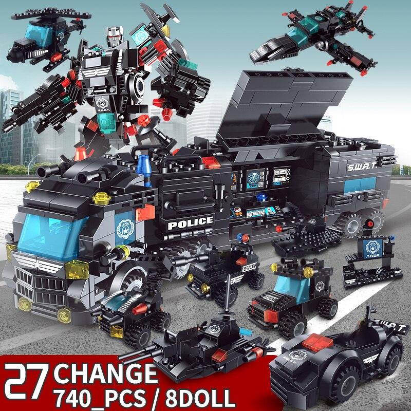 740 + PCS legoINGlys строительные блоки 8 мини-фигурок робот городская полиция игрушки блоки для мальчиков обучающий грузовик блоки модели блоков