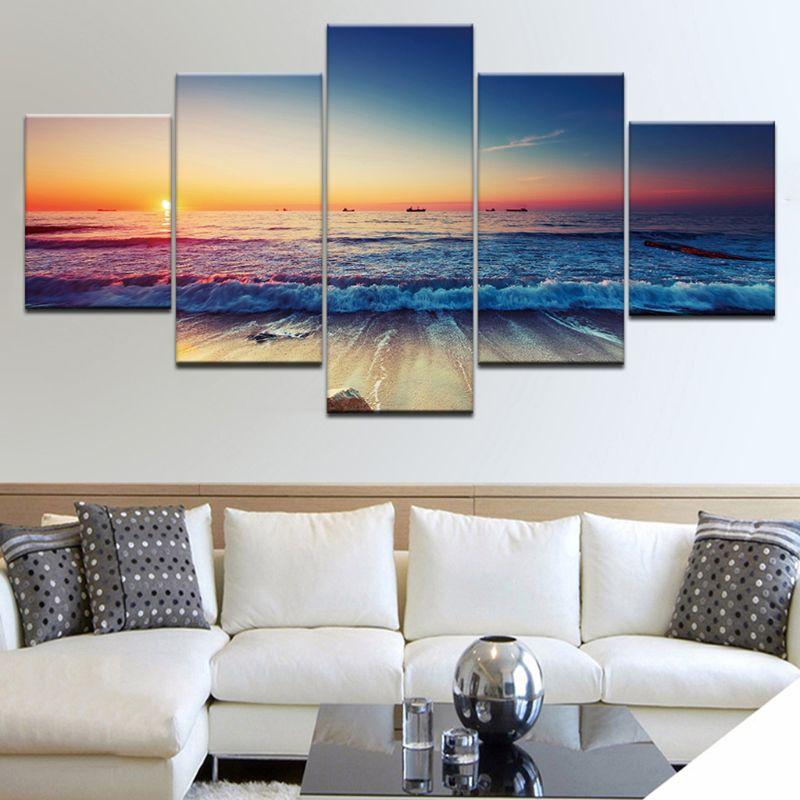 Wall Posters Modern Home Decoration 5 Beautiful Natural Landscape HD Print Modular Panel Painting Photos Canvas in Painting Calligraphy from Home Garden