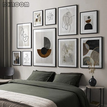 Affiche murale avec géométrie abstraite, toile nordique imprimée, peinture artistique minimaliste, ligne de dessin, image murale, décor de maison moderne