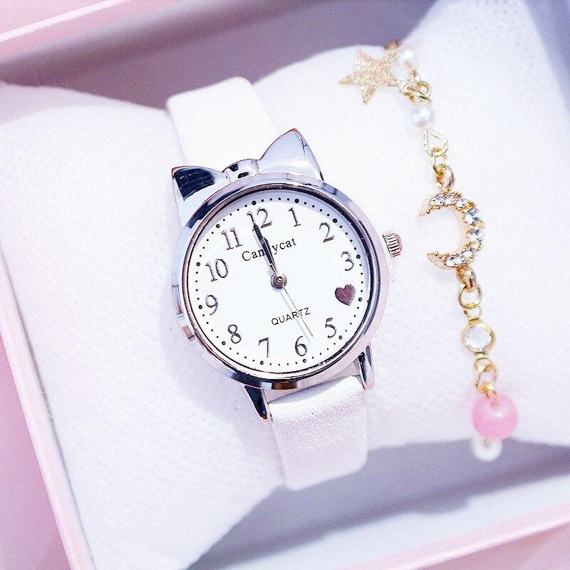 Fashion Cute Student Watch Women Leather Strap Black Wristwatch Girls Heart Shape Dial Cheap Fine Clocks Reloj