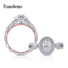 Transgems 14K 585 White and Rose Gold Center 4*6mm F Color Moissanite Engagement Ring With Accents for Women Wedding Gifts