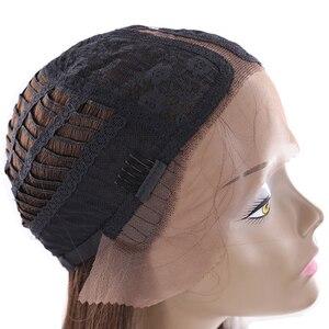 Image 5 - Perruque Bob Lace Front Wig synthétique Orange, cheveux Yaki lisses, Ombre, coupe courte avec raie au milieu, pour femmes noires, X TRESS