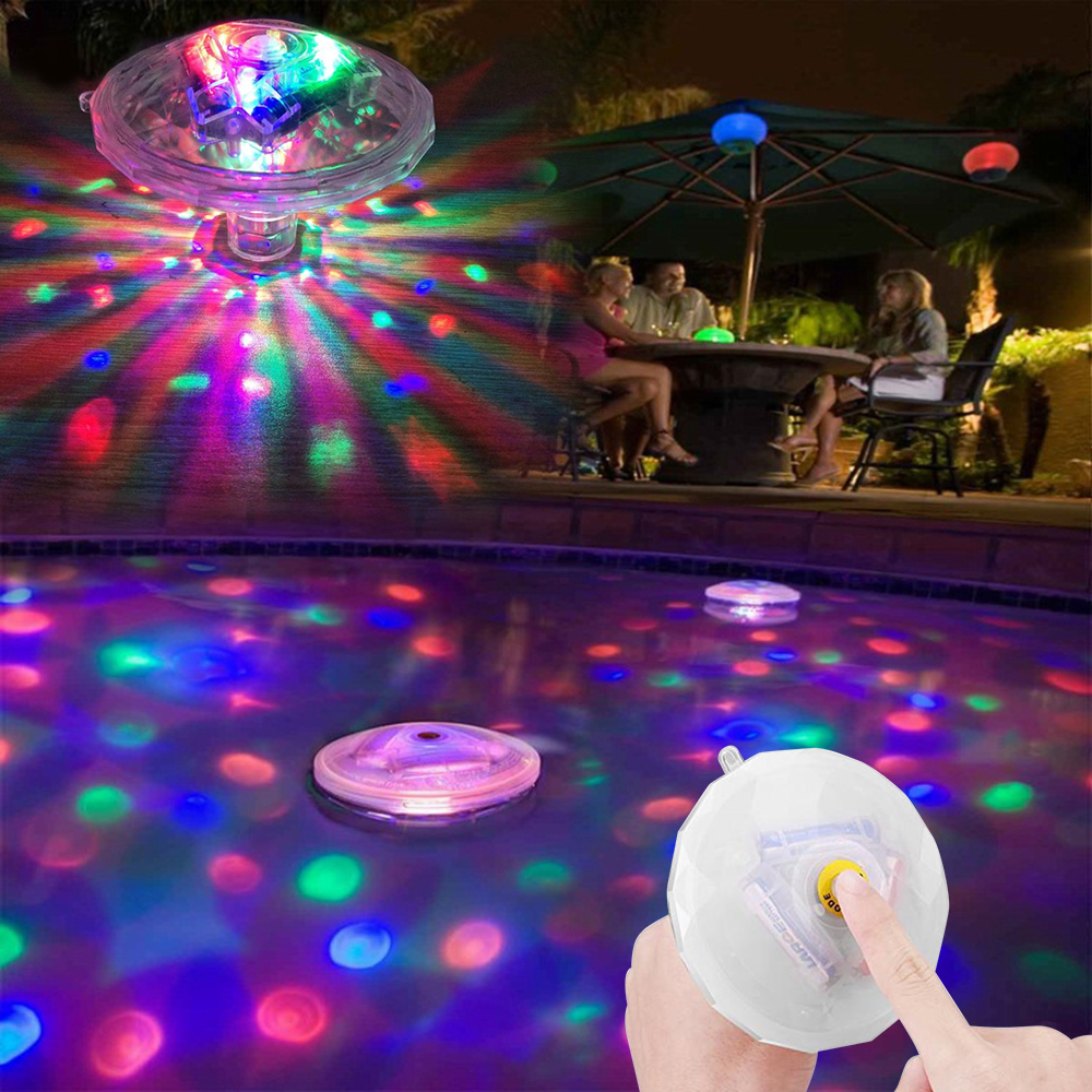 LED Underwater Light 7 Modes Waterproof Color Change Glowing  Bathroom Floating LED Flash Projector Light Swimming Pool Lamp D35