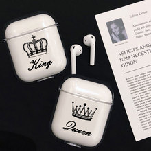 Crown Couple Case For Apple airpods case Cover Cute Wireless Bluetooth Earphone Case For Airpods Headphone Protective Cover цена и фото