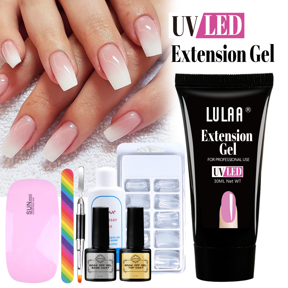 Nail Art Set Builder Gel For Nail Extension Gel Set UV Led Lamp with Nail Tips Acrylic Poly UV Gel For Manicure Fingertip Extend