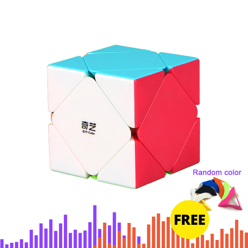 QiYi Skewb Solid Color Profissional Magic Cube Competition Speed Puzzle Cubes Toys For Kids Game-specific 6 Colors image