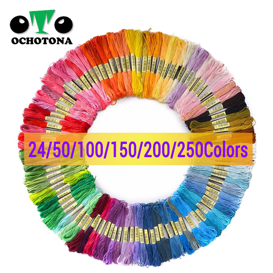24/50/100/150/200 Colors Dmc Embroidery Thread Floss Cross Stitch Cotton Thread Similar Cross-stitch Kit DIY Sewing Skeins Craft
