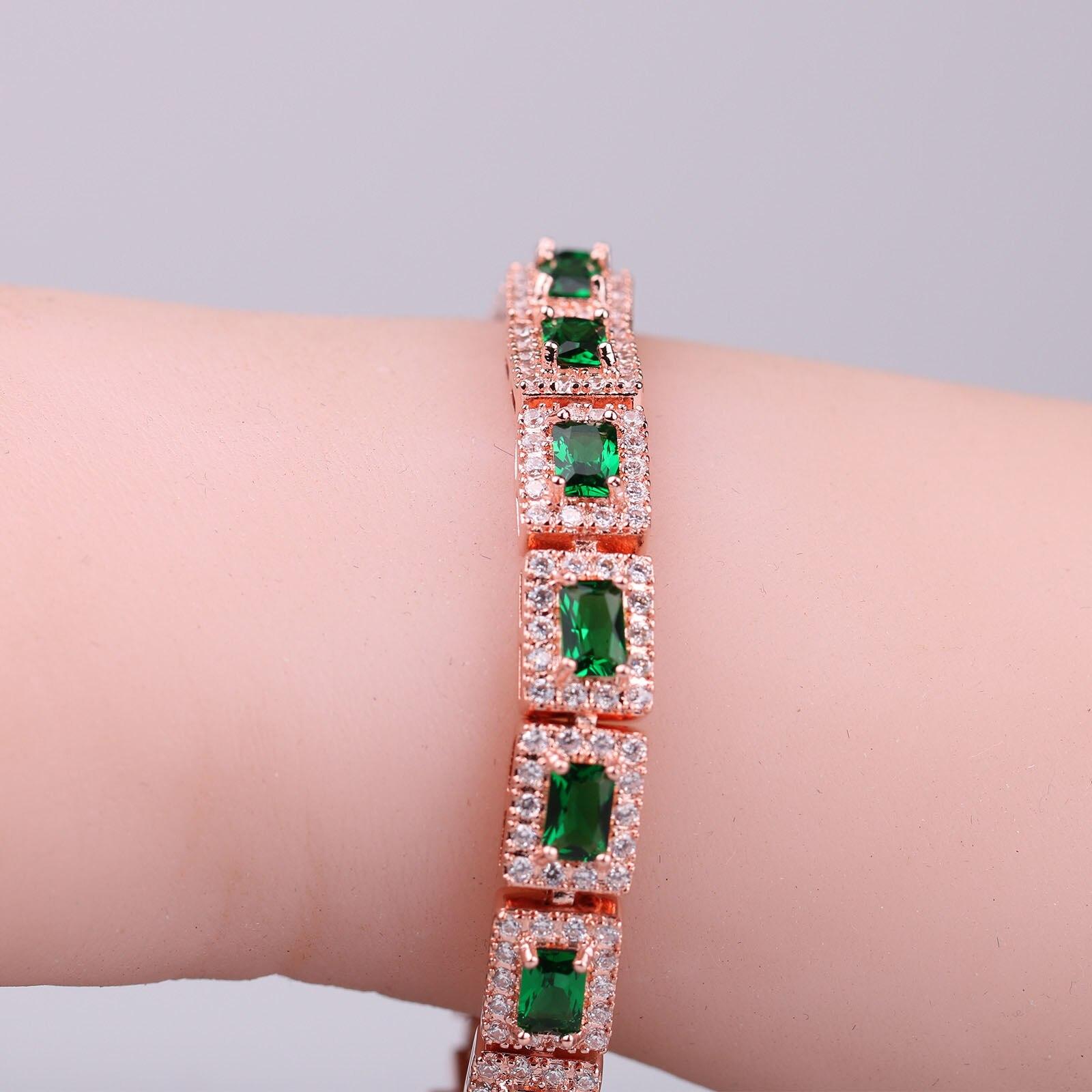 Luxury Green Zircon Bracelets for Women Rose Gold Rhinestone Charm Bracelets&Bangles Femme Bridal Wedding Jewelry Birthday Gift