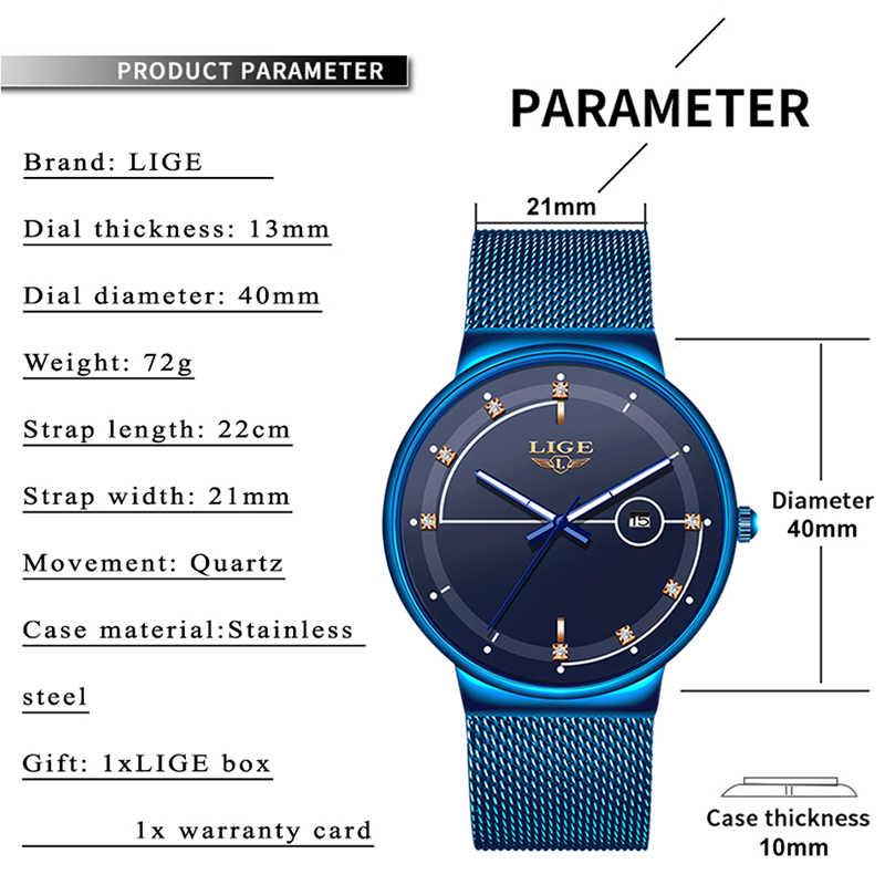 2019 חדש כחול קוורץ שעון ליגע Mens שעונים למעלה מותג יוקרה שעונים לגברים פשוט כל פלדה עמיד למים שעון יד reloj Hombre