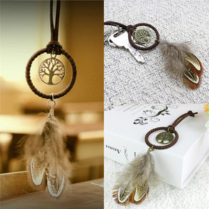 Модный Ловец снов кисточки металлический брелок Новое поступление для женщин и мужчин ювелирные изделия брелок для ключей с перьями для по...