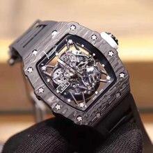 Модные мужские механические часы роскошные из углеродного волокна