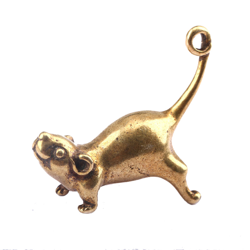 Ancient Brass Small Tea Pet Ornaments Jumping Mouse Long Tail Rat Figurines Lucky Study Desk Living Room Copper Home Decoration