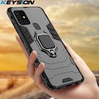 KEYSION-funda armadura a prueba de golpes para Samsung Galaxy A21S, soporte de anillo, parachoques de silicona + funda trasera de teléfono PC para Galaxy M31, M21, M30S
