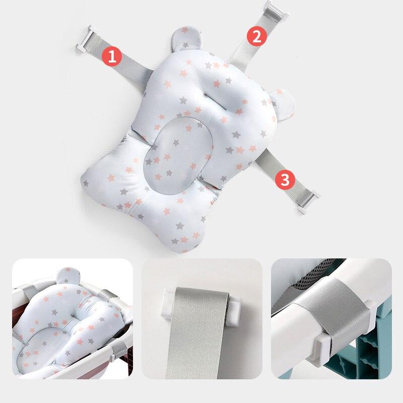 Newborn Bath Seat Support Mat Portable Baby Bath Pad Chair Baby Bathtub Safety Pillow Infant Anti-Slip Comfort Bath Cushion Mat