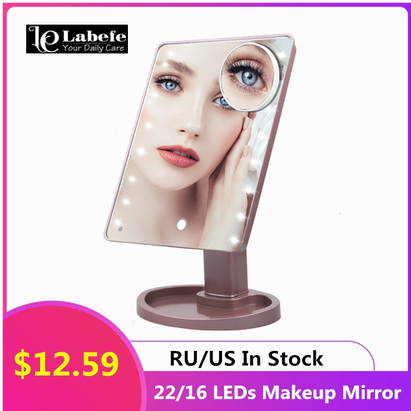 22/16 LED Light Tabletop Makeup Mirror Touch Switch 10x Magnifying Mirrors 180 Rotation Bathroom Travel Vanity Mirror Espejo