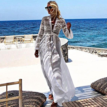 Cotton Lace Patchwork Beach Cover up Robe Plage Sexy Women Summer Casual Dress