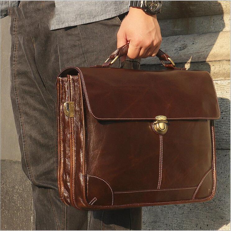 Retro Genuine Leather Men Laptop Bag Wax Leather Briefcase Business Office Bags Brown Male Laptop Portfolio Case Messenger Bag