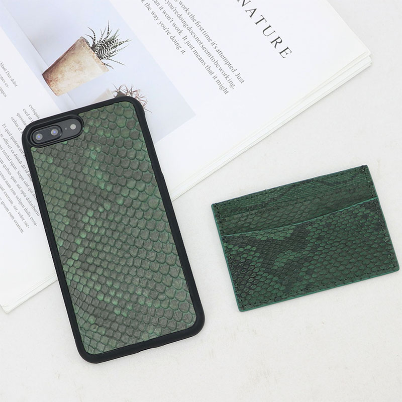 New arrivals luxury python snake leather men credit card holder ID case  ladies women with 4 slots