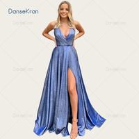V neck Blue Sparkly Prom Dresses 2020 Side Split Evening Dress Spaghetti Straps Lace Up Back Floor Length A Line Party Gowns