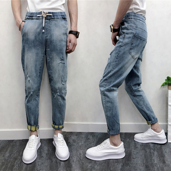 2019 Men Ripped Hole Blue Jeans Ankle-length Mid Elastic Waist Denim Pencil Pants With Pockets Summer Harem Trousers High Street