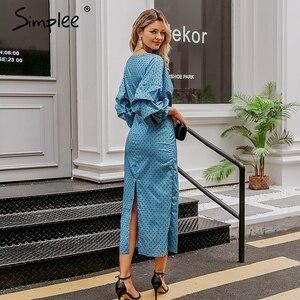 Image 5 - Simplee elegancki dekolt w serek damska sukienka Polka dot latarnia rękaw kobiet plus rozmiar suknia wieczorowa jesień dla szczupłej kobiety sukienka vintage