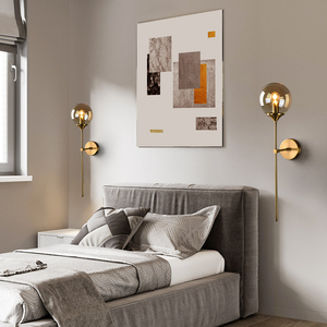 Image 5 - Artpad Northern Europe Led Wall Mounted Sconces Clear Gray Amber Glass Lampshade E14 Socket for Living room Washroom Wall Lamp