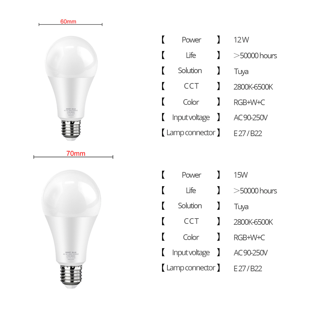 Light Bulb, E27 RGB LED 12W-15W | WIFI 6