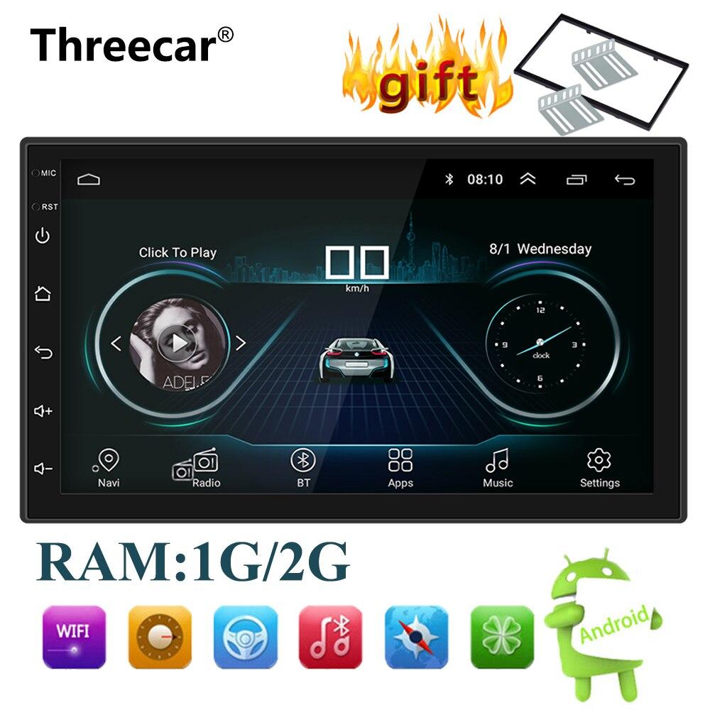 Android 8.1 Car Radio Stereo Navegação GPS Bluetooth wi-fi Universal 7 ''2din Car Radio Stereo Quad Core Multimedia Player áudio