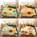 Homesky girassol jogo de cama rei rainha colcha conjunto roupas microfibra quarto cama têxteis para casa fronha colcha