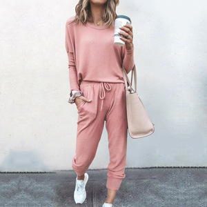 2020 Fashion Trend Autumn and Winter new Women's Explosive Loose Colid Color Long Sleeve Leisure Sports Suit Two Pieces