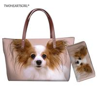 Twoheartsgirl Stylish Women Tote Bags Cute Papillon Dog Print Beach Handbag with Purse Large Neoprene Female Top handle Bags