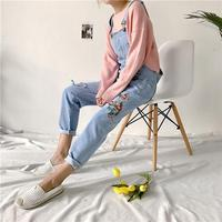 Fashion Loose Flowers Embroidery Denim Jumpsuit Women Casual Pockets Rompers Floral Ankle Length Overalls