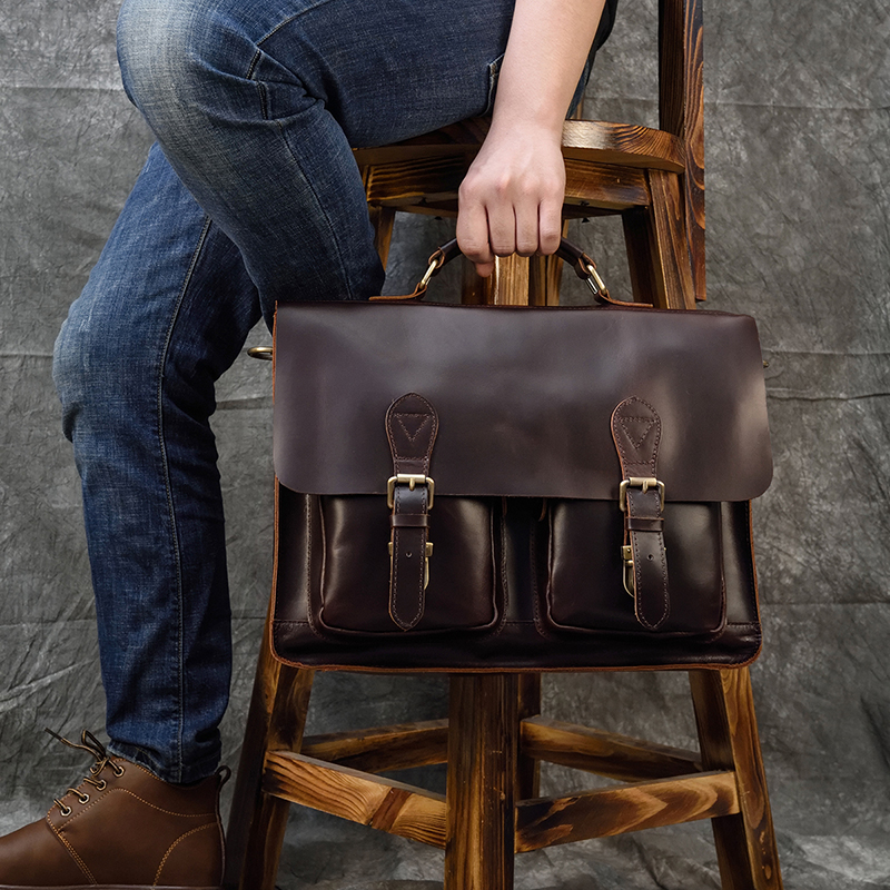 MAHEU Formal Men's Leather Handbags Genuine Leather Briefcase For 15