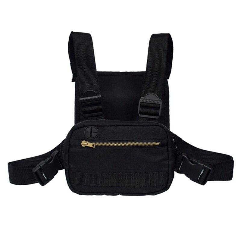Black Waist Bag Hip Hop Street Wear Functional Chest Bag Camouflage Cross Shoulder Bag