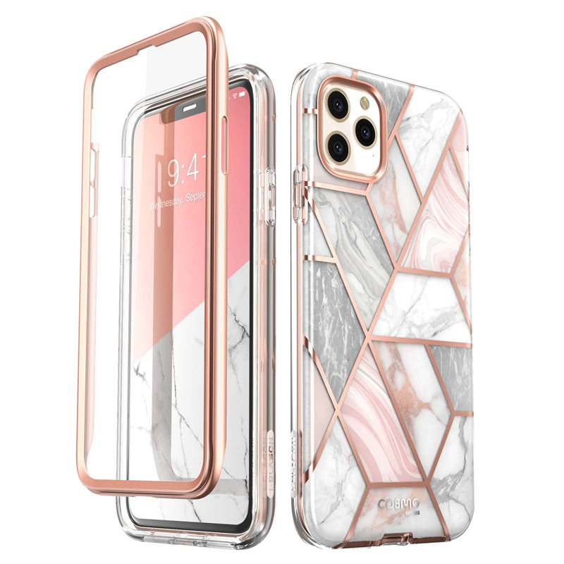 iPhone 11 Pro Max Case 6.5 inch (2020) Cosmo Full-Body Glitter Marble Bumper Case with Built-in Screen Protector