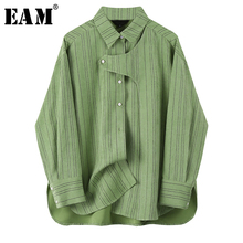 [EAM] Women Green Striped Split Joint Big Size Blouse New Lapel Long Sleeve Loos