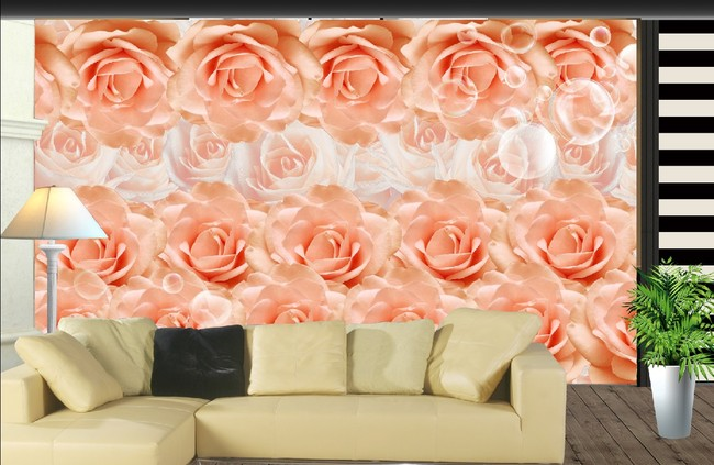 Dropship Photo Wallpaper Large 3D Stereo Wall Painting Wallpaper Bedroom Living Room TV Background Pink Rose Wallpaper Mural