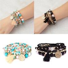 Rinhoo натуральный камень полимерный браслет с карты винтажный Плетеный для женщин модные браслеты и очаровательные повседневные украшения подарки
