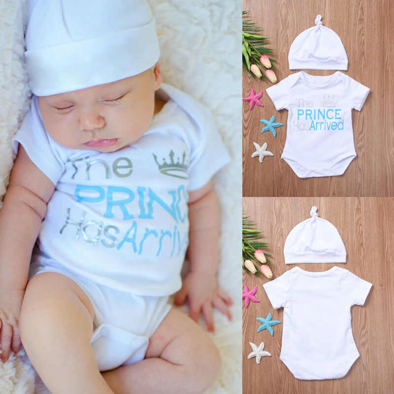 2019 The Prince Has Arrived Newborn Baby Boys Romper Hat 2Pcs Outfits Shower Gift 0-18M Baby Clothes