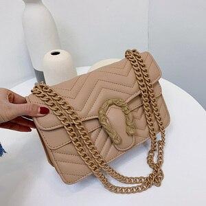 Image 2 - Bolso de marca de moda de color caramelo para Mujer, bandolera de cuero de PU suave de diseñador con cadena, Bolso de hombro tipo bandolera, Bolso de mano para Mujer