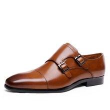Туфли мужские деловые модная обувь с пряжкой лоферы итальянская