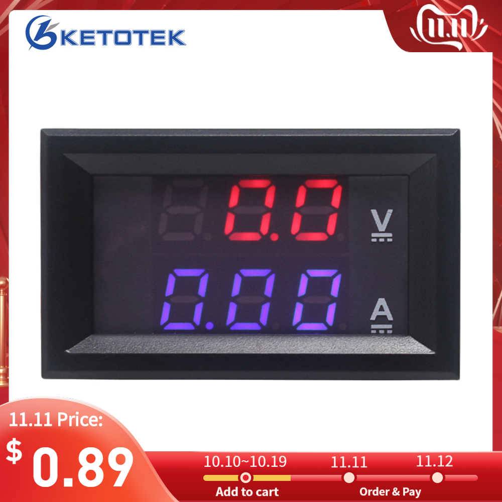 DC 0-100V 10A 50A 100A DC Ammeter Voltmeter Digital LED Red Blue Display Car Amp Volt Meter