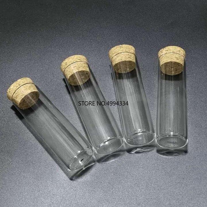 Free Shipping/12pcs/lot 30*100mm 50ml Flat Bottom Glass Test Tube With Cork Stopper Diameter 30mm Length 100mm