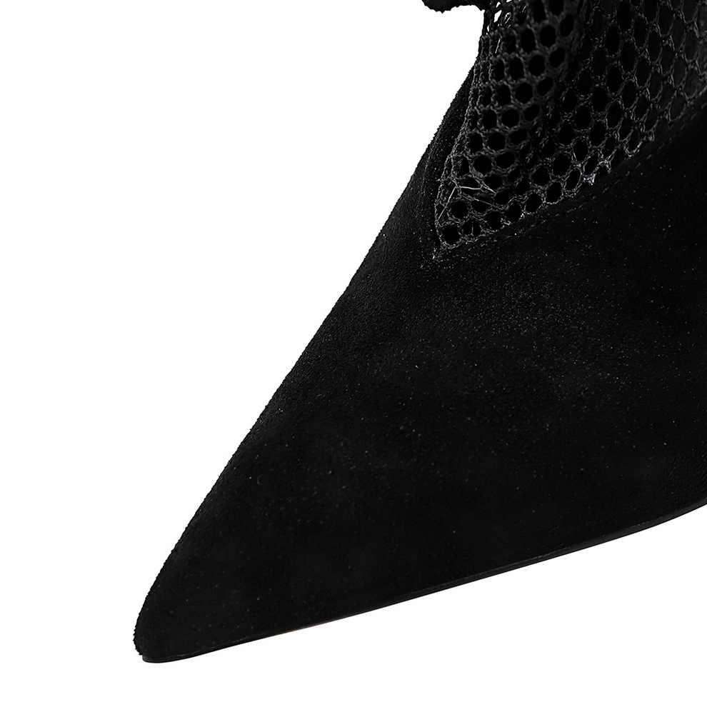 2020 moda camurça sexy super salto alto sapatos femininos stiletto preto apontado banquete sapatos femininos superfície líquida salto alto