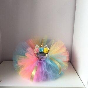 Платье для девочек с единорогом, платье на день рождения для маленьких девочек 1 год, многослойный костюм, платья для новорожденных, 12 месяцев, платье с единорогом
