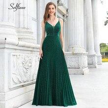 Sexy plissado vestido feminino com decote em v ajustável cintas de espaguete a linha verde maxi vestido elegante formal vestido de festa obe femme ete