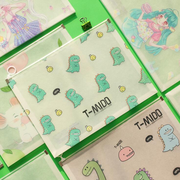 2020 Sharkbang Cute Frosted Waterproof Dragon Mouse A4 File Folder Desk Document Paper Organizer Storage Bag School Stationery
