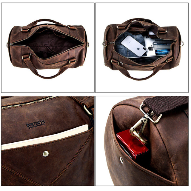 Genuine Leather Men Travel Bags Organizer Luggage Duffle Weekend Bag Crazy Horse Leather Travelling Bag More Function Packing 4