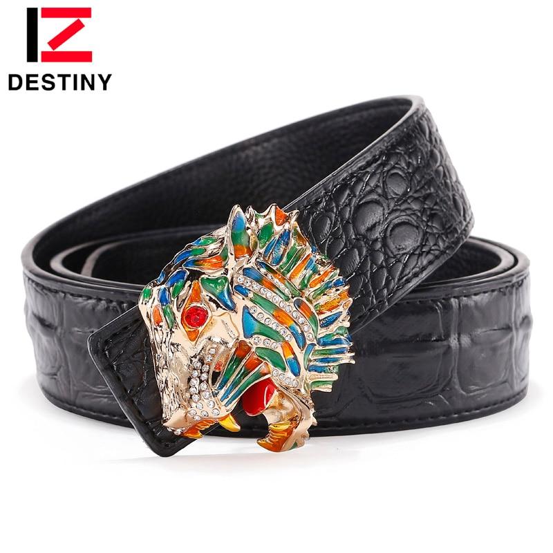DESTINY New Fashion Men Belt Crocodile High Quality Cow Genuine Leather Luxury Strap Male Belts For Men Color Tiger Head 3.8 3.5