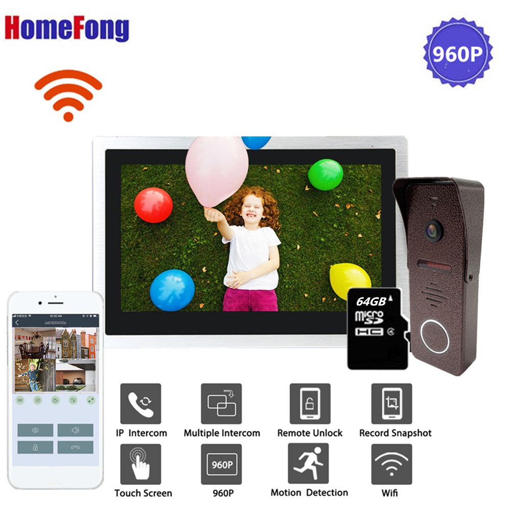 Homefong 10 Inch Wireless Video Intercom Doorbell Wifi Video Door Phone Doorbell 32GB/64GB Card Remote Unlock Talk Motion Alarm